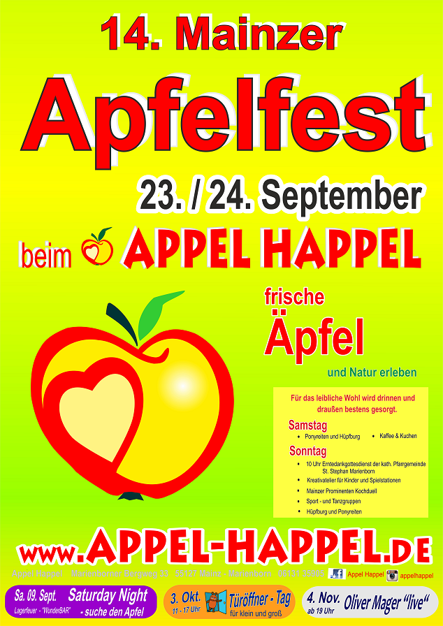Flyer Hoffest APPEL-HAPPEL in Mainz